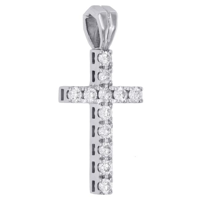 Jewelry For Less White Gold Diamond Mini Cross Pendant Solitaire Round Cut 14k Charm Jewelry For Less White Gold Diamond Mini Cross Pendant Solitaire Round Cut 14k Charm Image 2