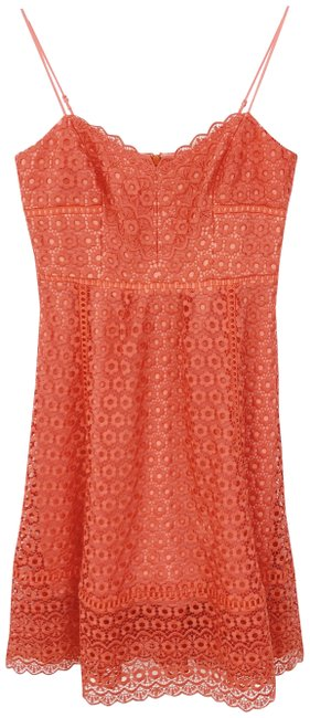 Item - Coral Orange Daisy Lace Mid-length Casual Maxi Dress Size 4 (S)