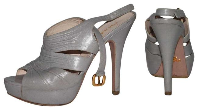 Item - Gray Leather Peep Toe Strappy Platform Heels Sandals Size US 7 Regular (M, B)