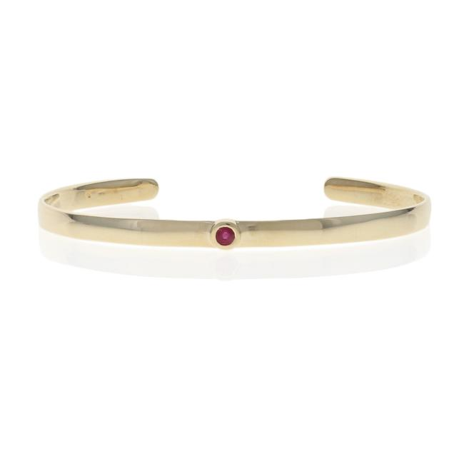 """Wilson Brothers Jewelry Yellow Gold Ruby Cuff 3/4"""" - 14k Round Cut .12ct Bracelet Wilson Brothers Jewelry Yellow Gold Ruby Cuff 3/4"""" - 14k Round Cut .12ct Bracelet Image 1"""