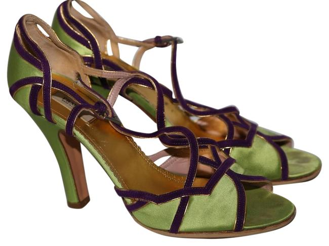 Item - Lime Green Suede Strappy Peep Heels Sandals Size US 6 Regular (M, B)