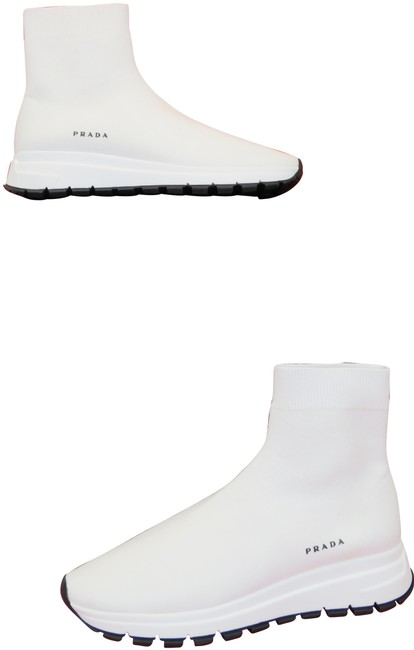 Item - White 1t715l Knitted Sock Platform Logo Ankle Sneakers Size EU 38.5 (Approx. US 8.5) Regular (M, B)