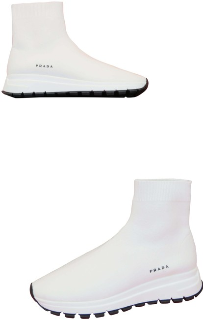 Item - White 1t715l Knitted Sock Platform Logo Ankle Sneakers Size EU 39.5 (Approx. US 9.5) Regular (M, B)