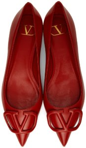 Item - Red Vlogo Leather Ballet with Tonal Logo Flats
