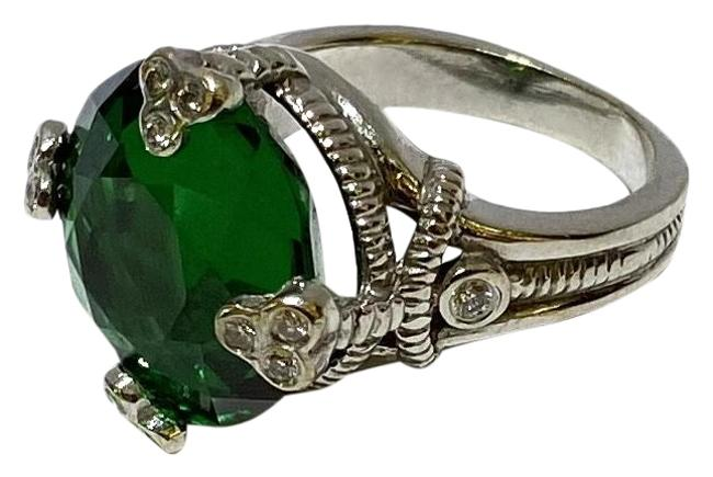 Item - Green Tourmaline In 14k White Gold with Diamonds Ring