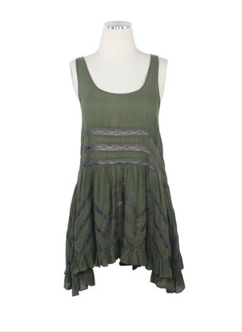 Item - Green Voile and Lace Trapeze Slip Army Short Casual Dress Size 8 (M)