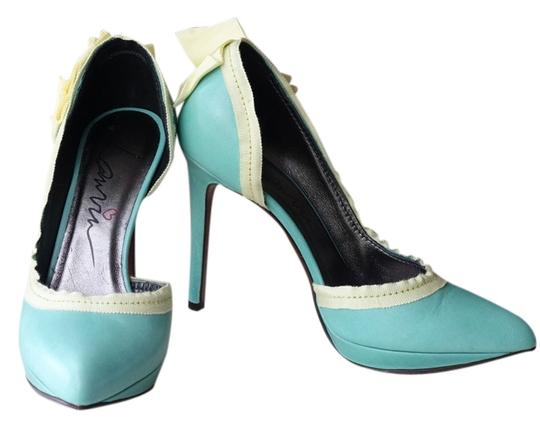 Preload https://item2.tradesy.com/images/lanvin-teal-tealgreenyellow-bow-pumps-size-us-7-regular-m-b-2777851-0-0.jpg?width=440&height=440