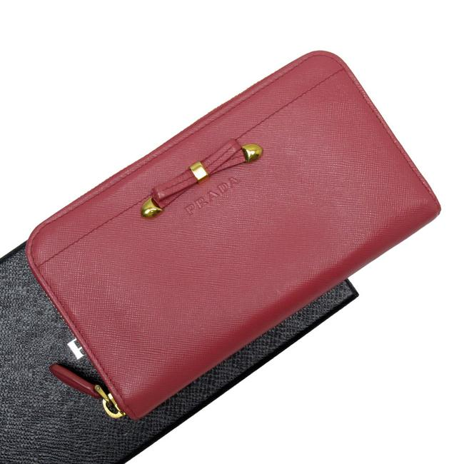 Item - Gold / Pink Round Zipper Ribbon Saffiano Leather Ladies Wallet