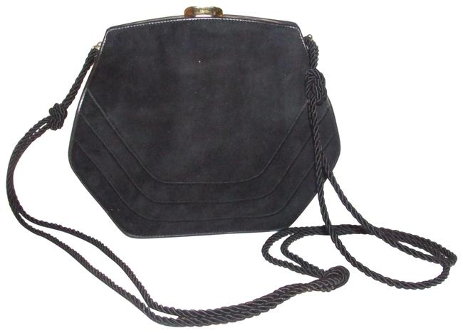Item - Shoulder Clutch Two-way Or Dark Navy Blue Suede/Gold Leather Cross Body Bag