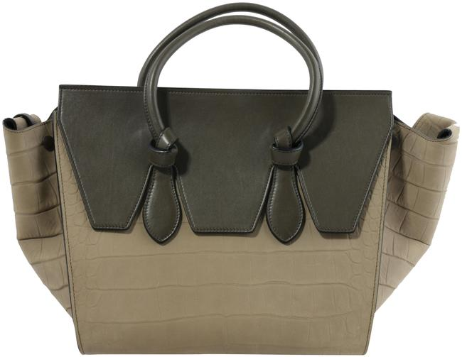 Item - Tie Croc Embossed Knot Gray Suede Leather Tote