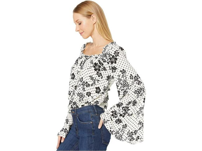 "Item - ""One On One Date"" Floral Long Sleeve Bodysuit Cream Black Top"