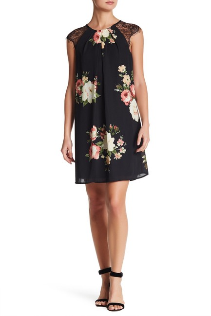 Item - Black Flower Print Lace Sleeve Short Night Out Dress Size 6 (S)