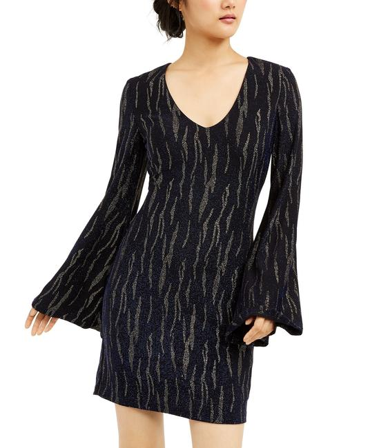Item - Navy/Gold Juniors' Glitter Stripe Navy/Gold Mid-length Cocktail Dress Size 6 (S)