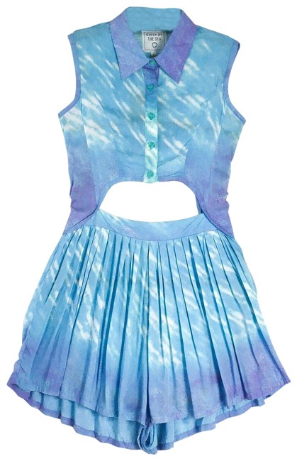Item - Blue Gypsy By The Sea Tie Dye Sea Fade Collared Pleated Keyhole Romper/Jumpsuit