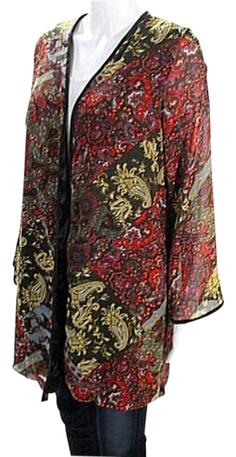 Item - Black Red Kimono Paisley Jacket M Cardigan Size 8 (M)