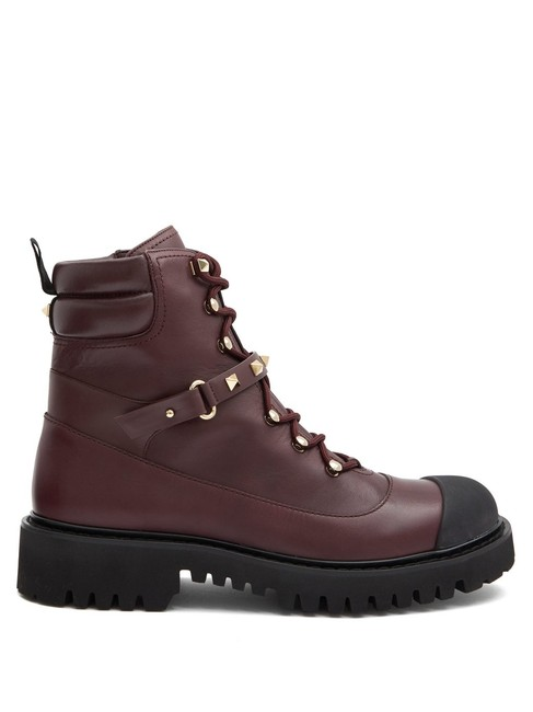 Item - Burgundy Mf Rockstud Lace-up Leather Boots/Booties Size EU 35 (Approx. US 5) Regular (M, B)