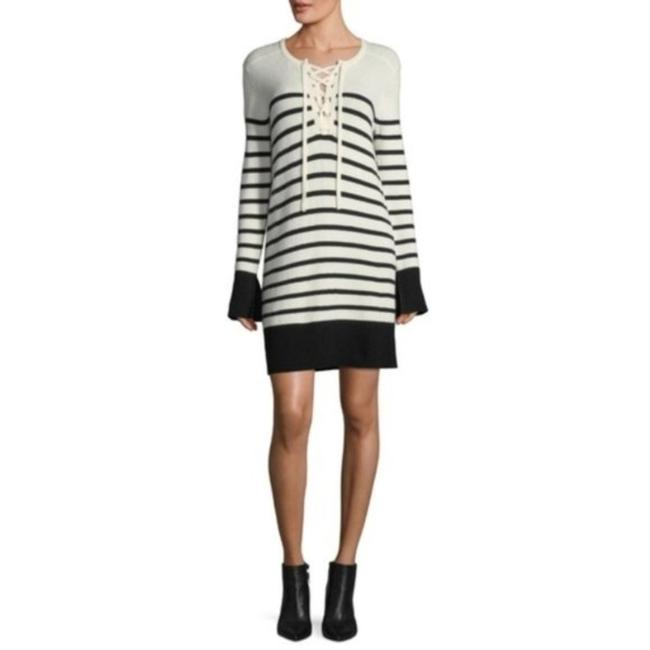 Item - Navy White Stripe Heltan Lace Front Wool Cashmere Sweater Short Casual Dress Size 8 (M)