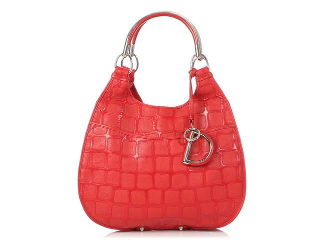 Dior 61 Embossed Red Patent Leather Hobo Bag Dior 61 Embossed Red Patent Leather Hobo Bag Image 1