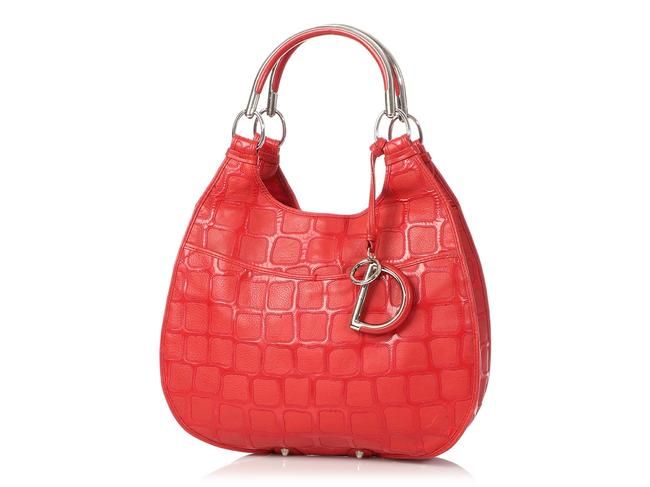 Dior 61 Embossed Red Patent Leather Hobo Bag Dior 61 Embossed Red Patent Leather Hobo Bag Image 2