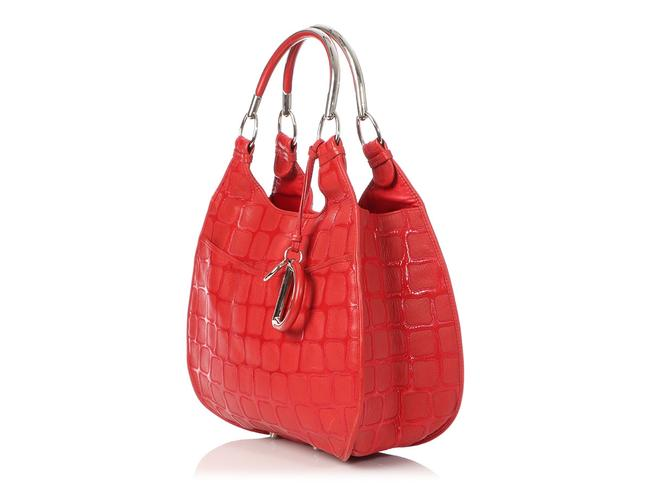 Dior 61 Embossed Red Patent Leather Hobo Bag Dior 61 Embossed Red Patent Leather Hobo Bag Image 3