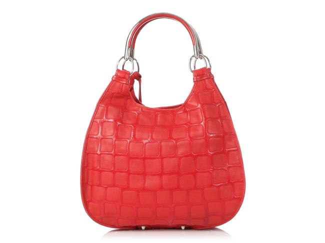 Dior 61 Embossed Red Patent Leather Hobo Bag Dior 61 Embossed Red Patent Leather Hobo Bag Image 4
