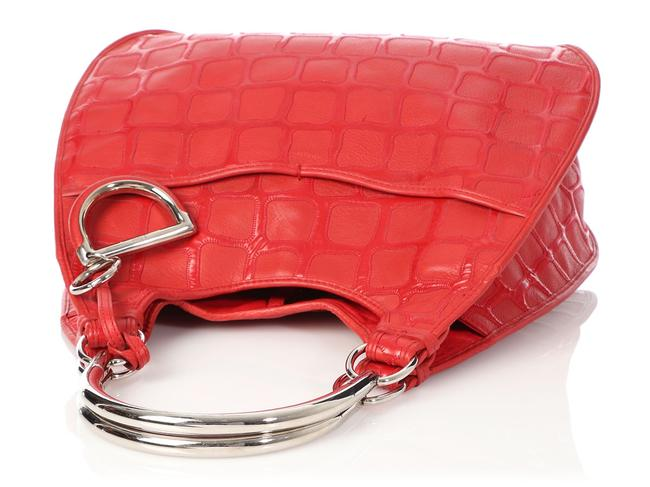 Dior 61 Embossed Red Patent Leather Hobo Bag Dior 61 Embossed Red Patent Leather Hobo Bag Image 7