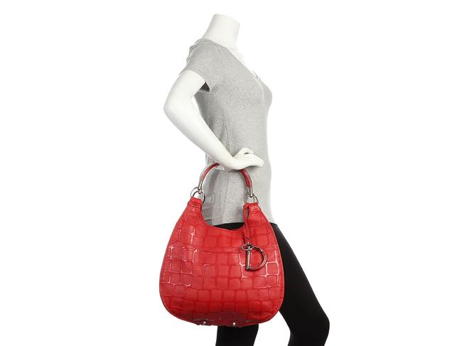 Dior 61 Embossed Red Patent Leather Hobo Bag Dior 61 Embossed Red Patent Leather Hobo Bag Image 9