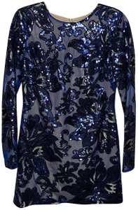 Dress the Population Sequin Lace Mini Top Midnight blue