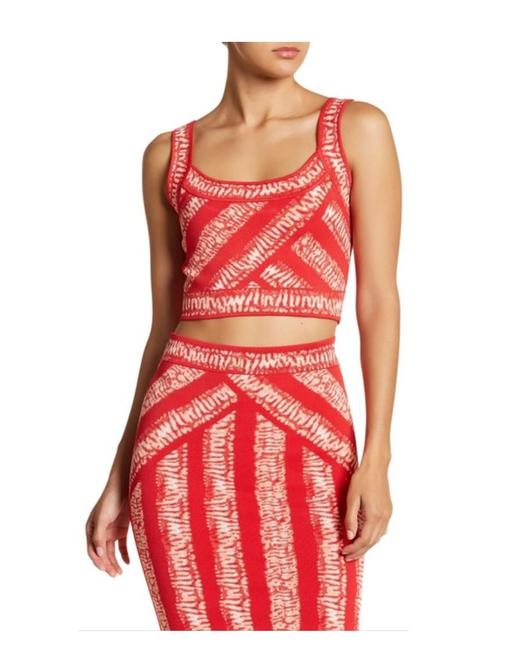 Item - Multicolor Guava Jacquard Set Crop Top & Skirt Mid-length Night Out Dress Size 2 (XS)