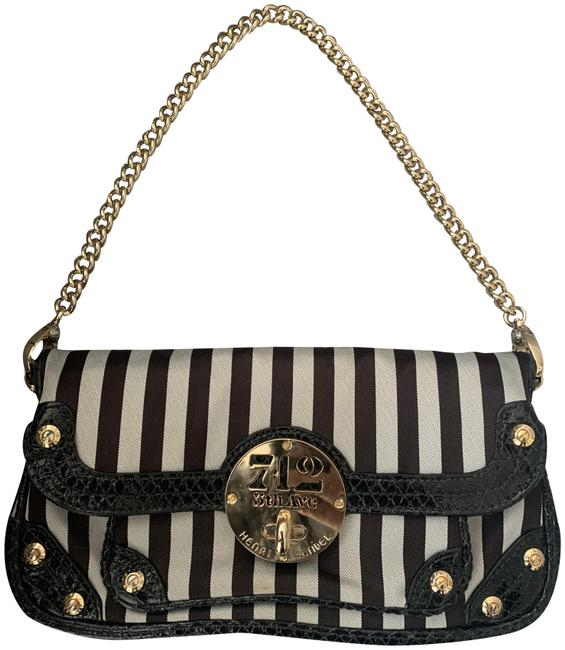 Item - Cluth Brown and White Striped Canvas Shoulder Bag