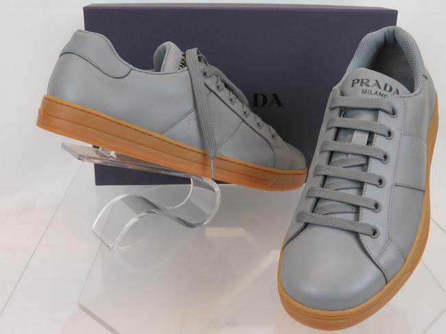 Item - Gray 4e3501 Leather Lace Up Logo Low Top Sneakers 8.5 / Us 9.5 Italy Shoes
