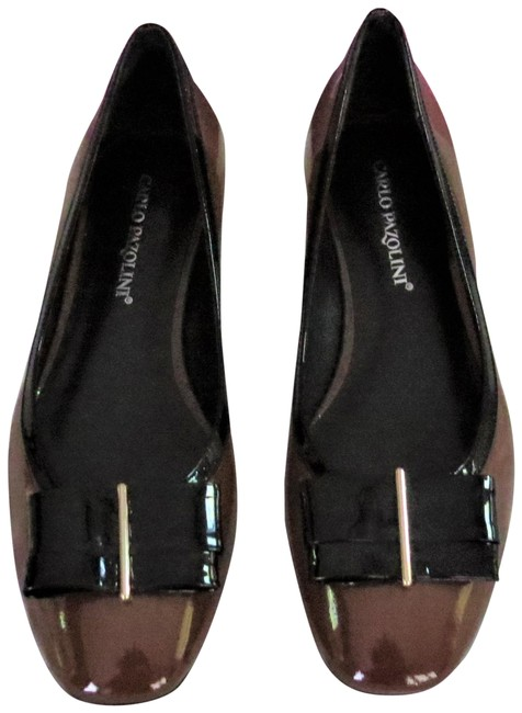 Item - Brown Bow Accented Patent Leather Flats Size EU 39 (Approx. US 9) Regular (M, B)