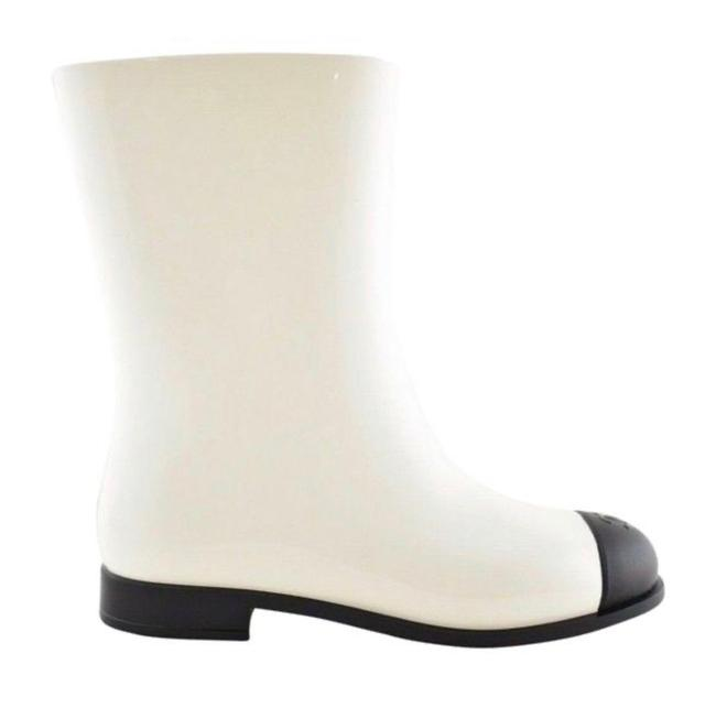 Item - White Black Pvc Rubber Rain Mid Calf Boots/Booties Size EU 36 (Approx. US 6) Regular (M, B)