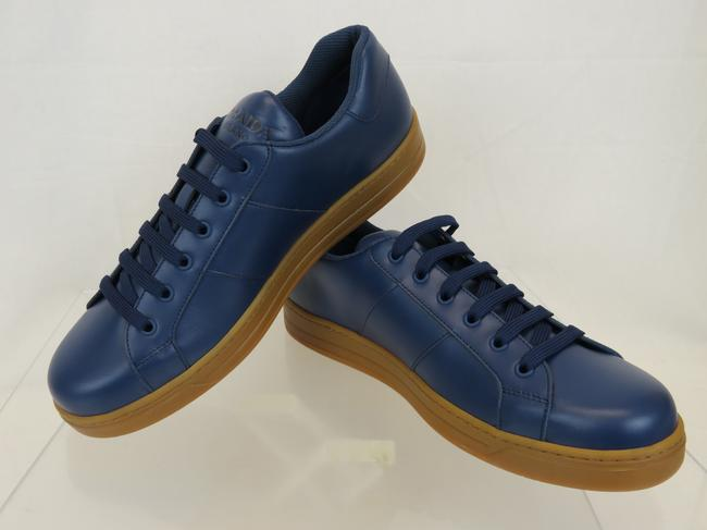 Item - Blue 4e3501 Leather Lace Up Logo Low Top Sneakers 7 Us 8 Italy Shoes