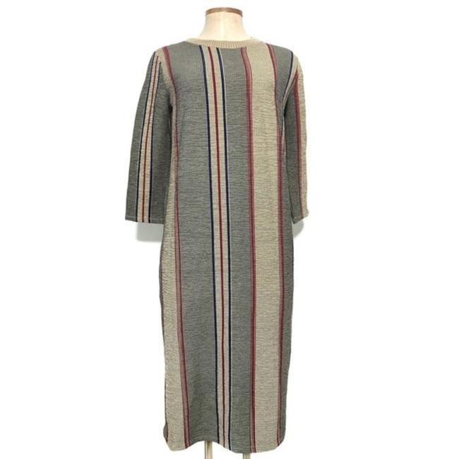 Item - Tan Brown Long Sleeve Striped Bodycon Mid-length Casual Maxi Dress Size 4 (S)