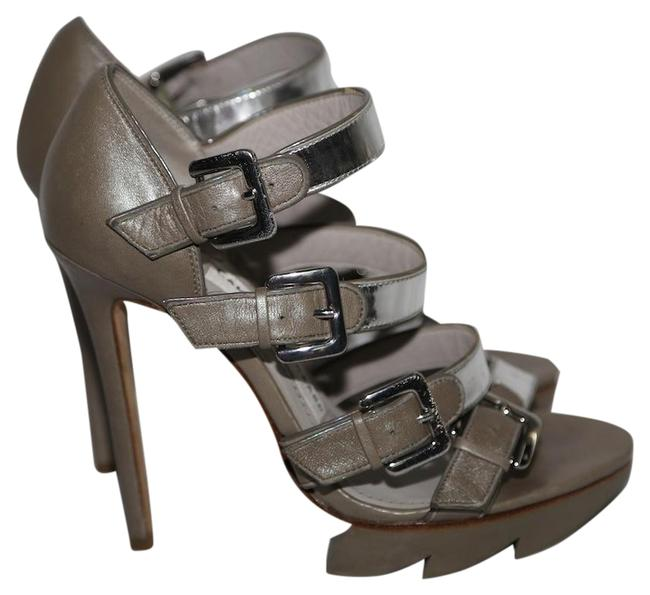 Item - Gray Silver Leather Strappy Platform Open Heels Sandals Size US 6 Regular (M, B)