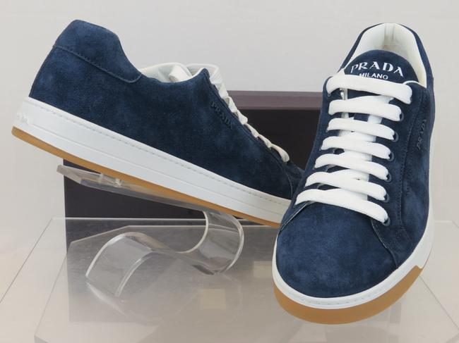 Item - Blue 4e3507 Suede Lace Up Logo Low Top Sneakers 9 Us 10 Shoes