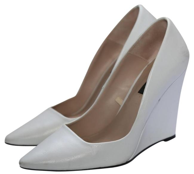 Item - White Woman Leather Heels Wedges Size US 7 Regular (M, B)