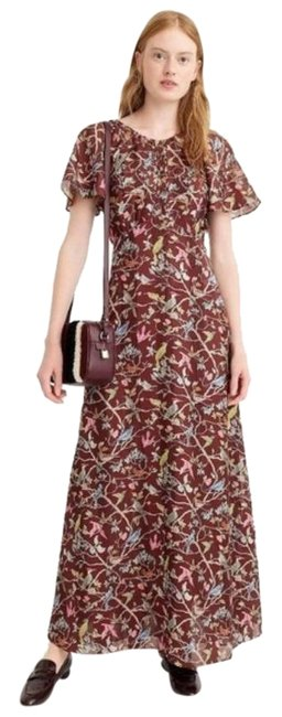 Item - Brown Point Sur Bird Menagerie Maxi Long Night Out Dress Size 4 (S)