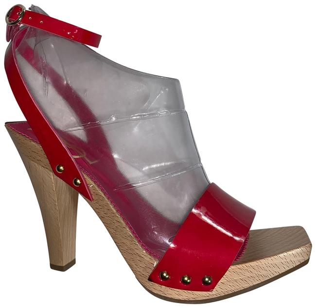 Item - Red Patent Leather Strappy Sandals Platforms Size EU 37 (Approx. US 7) Regular (M, B)