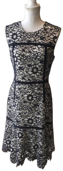 Item - Navy/White A-line Floral Lace Short Cocktail Dress Size 8 (M)