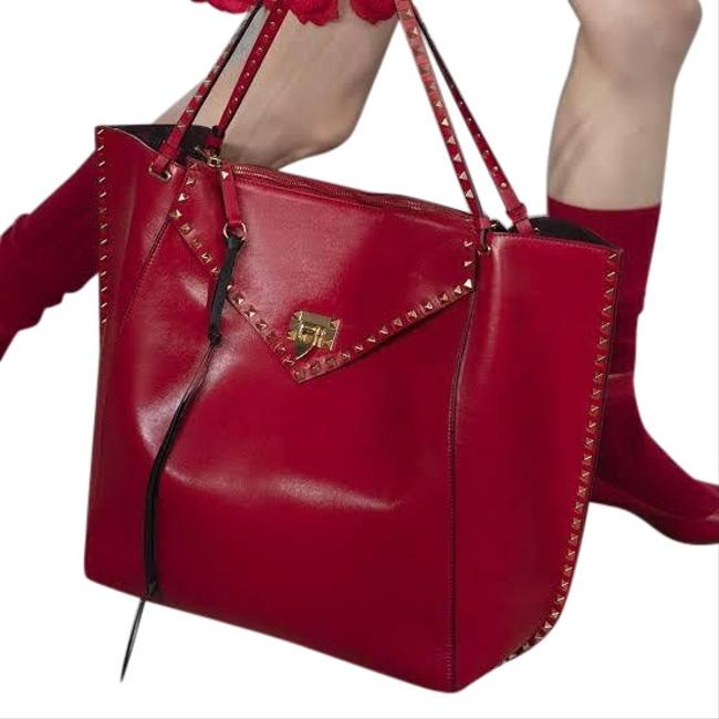 Valentino Rockstud Double Handle Hype Red Leather Tote Valentino Rockstud Double Handle Hype Red Leather Tote Image 1