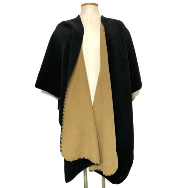 Item - Tan Boutique Black Fleece Reversible Poncho/Cape Size OS (one size)