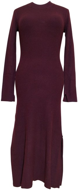 Item - Burgundy Nala Ribbed Knit Midi Sweater Bordeaux Long Sleeve Slit Mid-length Casual Maxi Dress Size 8 (M)