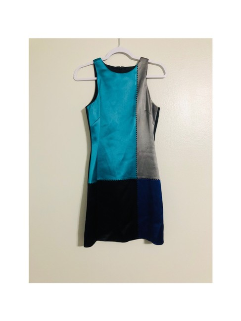 Item - Turquoise. Gray and Black with Black Beads Abs Evening Short Cocktail Dress Size 4 (S)