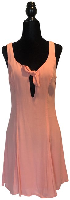 Item - Peach/Pink/Coral Women's Front Tie Sleeveless Mini Short Casual Dress Size 4 (S)