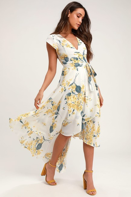 Item - White & Yellow French Countryside and Floral Print High-low Long Casual Maxi Dress Size 4 (S)