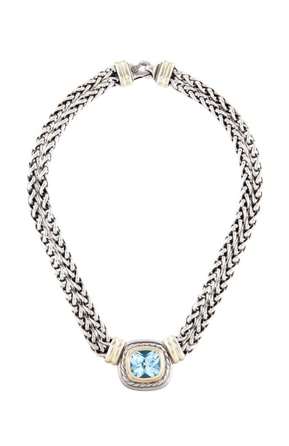 Item - Albion Blue Topaz Double Wheat Chain Necklacewith Gold Necklace