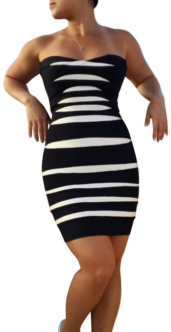 Item - Black White Striped Strapless Bandage Short Night Out Dress Size 2 (XS)