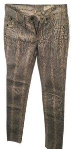 Rag & Bone Print Animal Print Silver Skinny Jeans-Coated